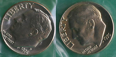 1976 P and D Roosevelt Dime 2 Coins from US Mint Set BU Cellos Ten Cents Two 10c