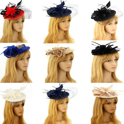 LeahWard Women's Wedding Feather Hat Mesh Beaded Fascinator For Party Horse Race