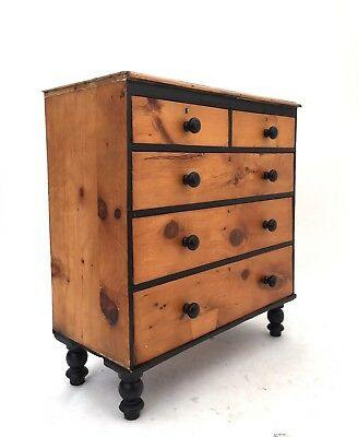 Antique Industrial Victorian Rustic Pine Farmhouse Chest of Drawers Tall Boy