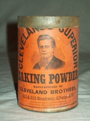 antique Cleveland Brothers superior Baking soda  albany NY paper label Tin Can