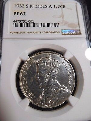 INV #S38 British Africa Southern Rhodesia 1932 1/2 Crown NGC Proof-62