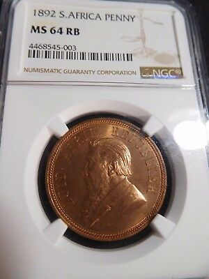 INV #S41 South Africa 1892 Penny NGC MS-64 Red Brown
