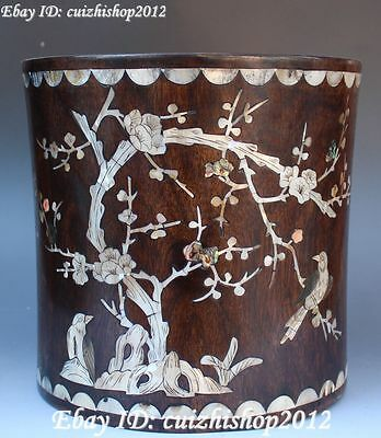 """9"""" Wood Inlay Conch Shell Pied magpie Plum blossom Brush Pot pencil Holder vase"""