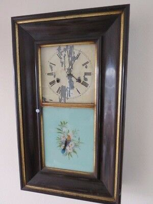 Antique Faux Rosewood And Gilt Cased Hand Painted Bird Tablet Ogee Clock