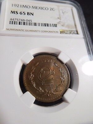 INV #S98 Mexico 1921-Mo 2C NGC MS-65 Brown RARE This Nice No Price in this Grade