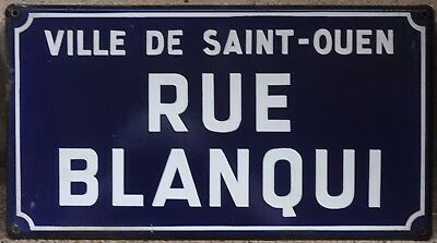 French enamel street sign road name plaque Blanqui socialist Saint-Ouen Paris