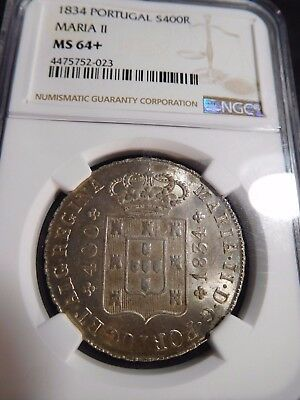 INV #S116 Portugal 1834 Silver 400 Reis Maria II NGC MS-64+