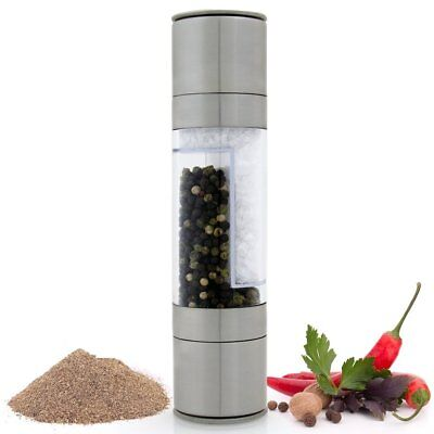 2 in 1 Stainless Steel Manual Salt & Pepper Mill Herb & Spice Grinder Shaker Set