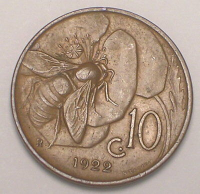 1922 Italy Italian 10 Centesimi Honey Bee Coin VF+