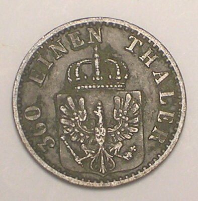 1873 B German States Prussia One 1 Pfenning Eagle Coin F