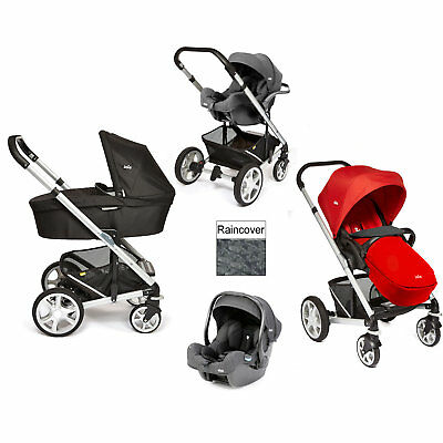 New Joie Tomato Red Chrome Plus I-Size Travel System Silver Frame From Birth