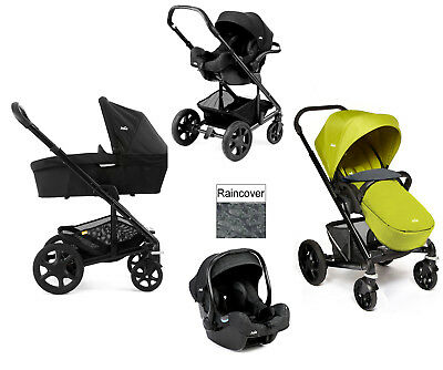 New Joie Chrome Plus Black Frame Travel System I-Gemm Carseat Pavement - Green