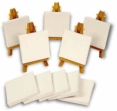 WOODEN EASEL 16cm & CANVAS 7.5cm x 7.5cm MINI ARTIST SET FOR DISPLAY & SIGNS mb