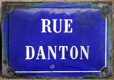 1920s French enamel street sign road name plaque Danton French Revolution Paris