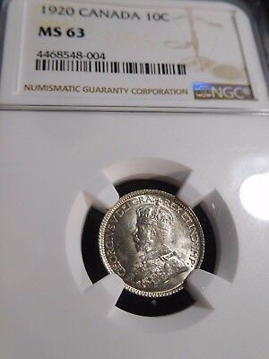INV #S154 Canada 1920 10 Cents NGC MS-63