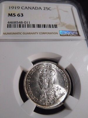 INV #S156 Canada 1919 25 Cents NGC MS-63