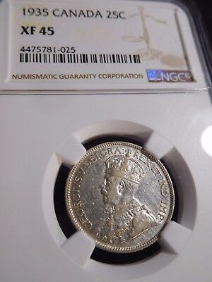 INV #S159 Canada 1935 25 Cents NGC XF-64