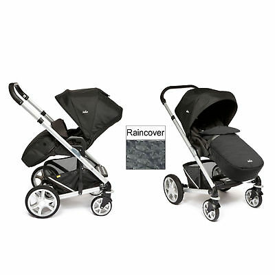New Joie Black Carbon Chrome Plus Silver Frame Pushchair Stroller From Birth
