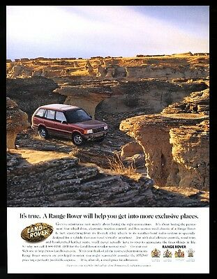 1993 Range Rover red SUV desert formations photo vintage print ad