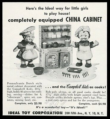 1954 Ideal Toys Campbell's Soup kids china cabinet toy photo vintage print ad