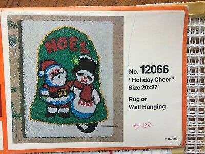 "Vintage Bucilla Christmas Latch Hook Rug Canvas Only - 20"" x 27"" Holiday Cheer"