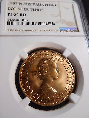 INV #S218 Australia 1957(P) Penny Dot After Penny NGC Proof-64 Red