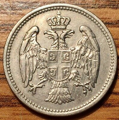 1912 Serbia 20 Para Milan I Coinage - About Uncirculated Condition