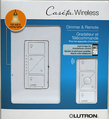 Lutron Caseta Wireless In-Wall Light Dimmer with Remote - White P-PKG1W-WH