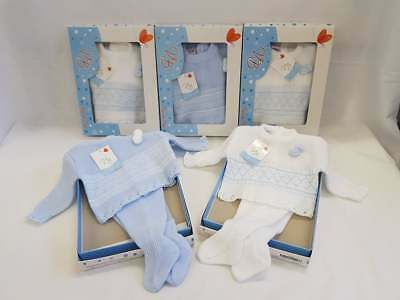 Spanish Baby 2 piece soft knitted set WHITE & BLUE - POMS - GIFT BOXED - NEWBORN