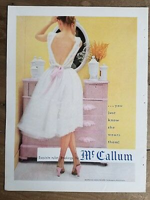 1953 Propper McCallum women's nylon stockings Hosiery white dress ad
