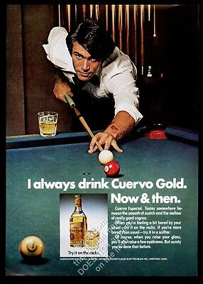 1977 pool table man with cue photo Cuervo Especial tequila vintage print ad