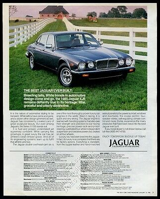 1985 Jaguar XJ6 Series III silver car at horse farm photo vintage print ad