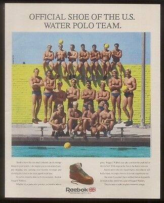 1988 U.S. Men's water polo team photo Reebok shoes vintage print ad