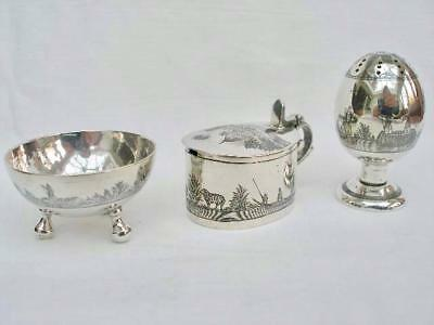 Superb Signed Middle Eastern Vintage Niello Solid Silver 3 Piece Cruet Set.
