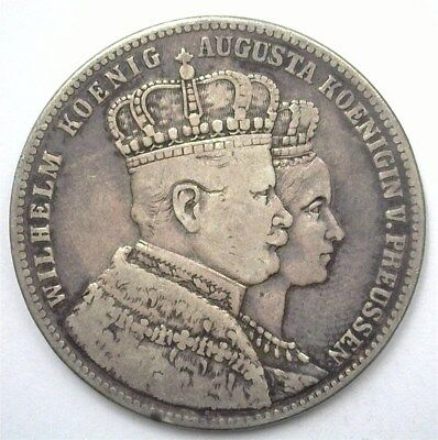 Prussia 1861 Silver Thaler -German States- Very Fine C#169