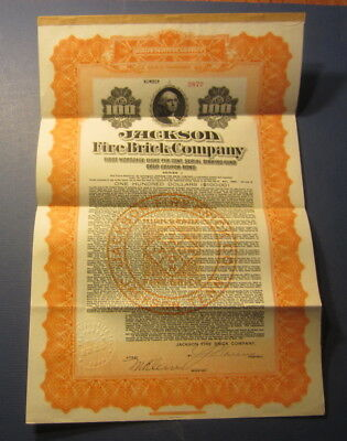 Old 1921 - JACKSON FIRE BRICK Co. - GOLD BOND Certificate - TENNESSEE