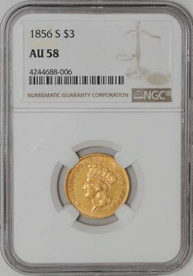 1856-S $3 Gold Indian AU58 NGC
