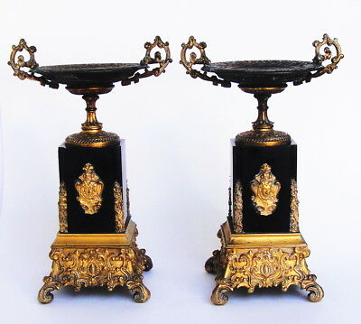 Pair Large Antique Victorian or French Gilt Bronze & Marble Candlestick or Tazza