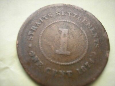 1874 Straits Settlements Large One Cent Penny Queen Victoria Coin Southeast Asia