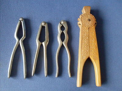 Vintage Nutcrackers (4) Three Metal & One Wood, All Differnet.good Condition