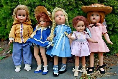 Vintage Madame Alexander Dolls Wendy Ann Tagged Dress Composition Mixed Lot Of 5
