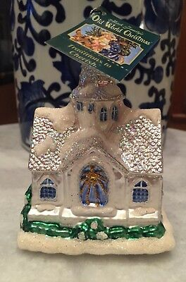 Old World Christmas Ornament Glass Sparkling Cathedral White Church NWT