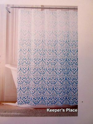TOMMY HILFIGER Shower Curtain MODERN DAMASK OMBRE Cottage Chic Aqua ...