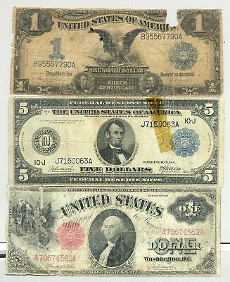 Series 1899 $1 Silver Certificate, 1917 US Note and $5 1914 Federal Reserve Note