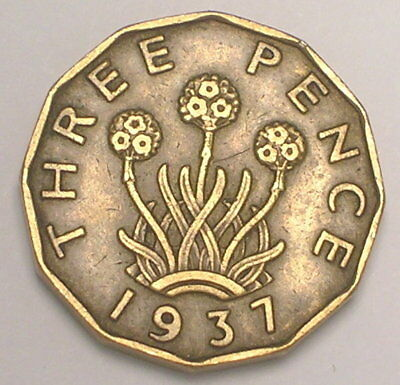 1937 UK Great Britain British Three 3 Pence WWII Era Plant Coin VF+