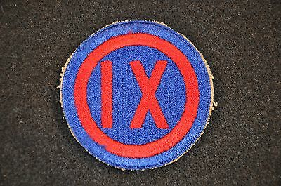 WWII US Army '9th Corps' SSI Shoulder Insignia Patch; Cotton Cut Edge No Glow VG