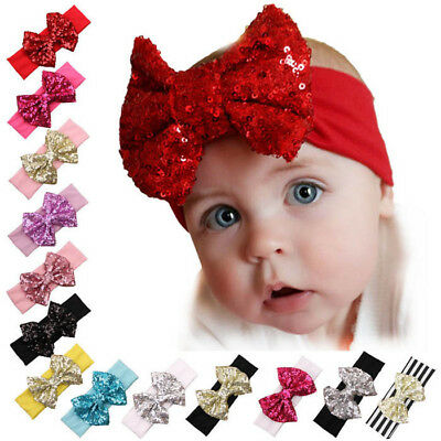 12PCS Baby Headband Girl Sequined Bow Head Hair Band Christmas Headwear Turban
