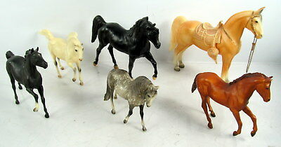 Lot Of 6 Vintage Breyer Plastic Horses Various Breeds And Sizes
