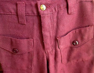 26x28 True Vtg 70's Farah Burgundy/Purple SPACE MOD POCKET KNIT RIBBED JEANS
