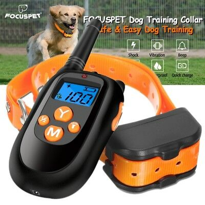 Focuspet Electric Remote Shock Vibrate Dog Collar Trainer Recharge Waterproof